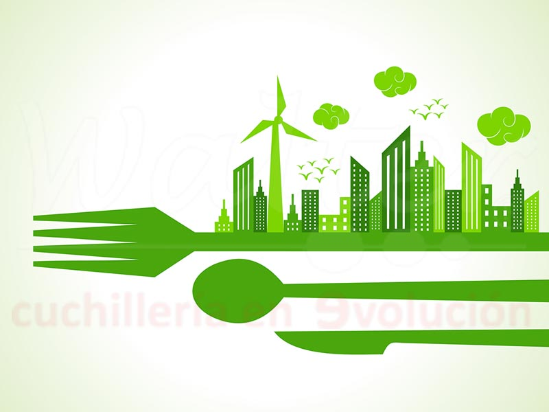 Planeta sostenible con cuchillos reciclables